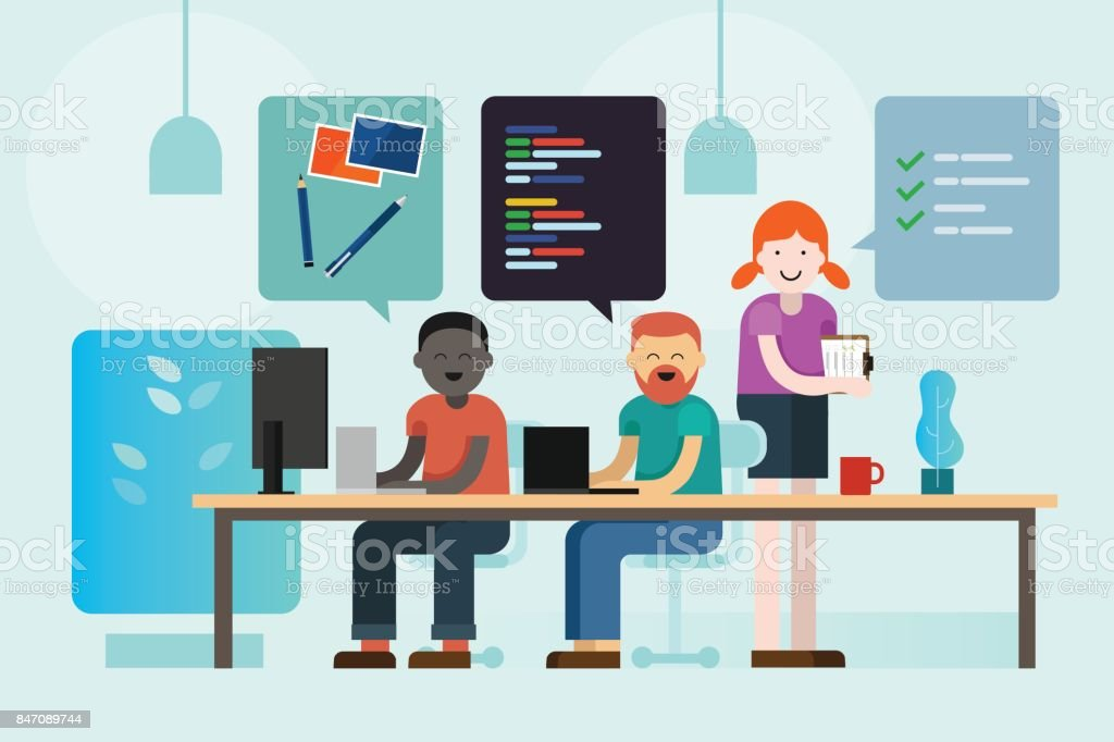 web design development programmer and project manager working together coding communicating brief creative company team vector art illustration