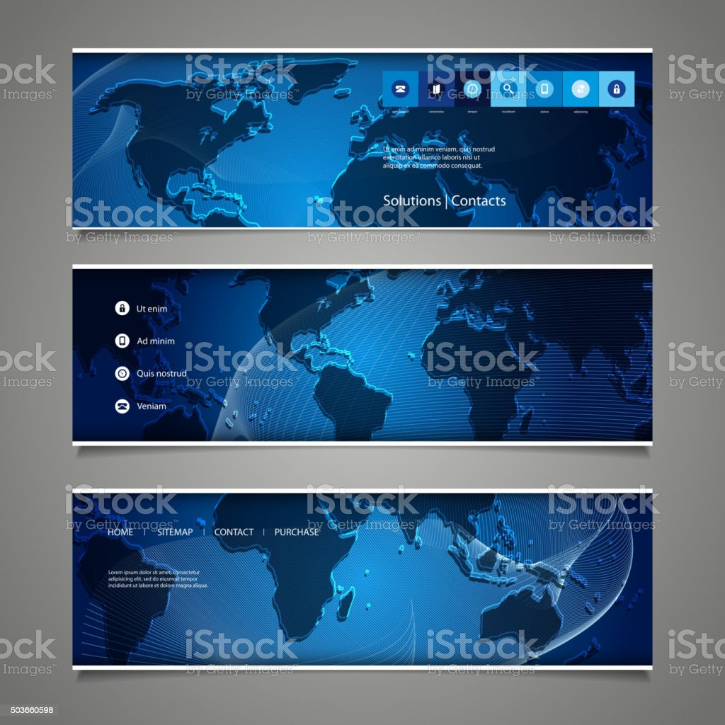 Web design elements header designs with world map stock vector art web design elements header designs with world map royalty free web design elements header gumiabroncs Choice Image