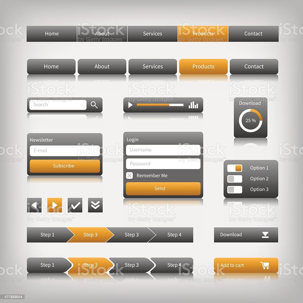 web design elements with reflection vector art illustration
