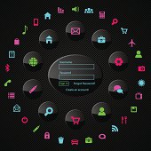 Web Icon Set with Log in Form. Vector illustration. Eps10 transparency effect