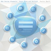 Login form with  Web Icon on a triangular geometric modern background. Vector illustration. Eps10.