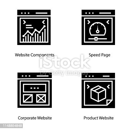 Here is set of web design glyph icons, having envision visuals of landing page  icons that you can easily modify according to your project needs.