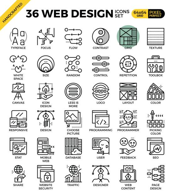Web design icon set vector art illustration