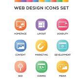 Web Design Icons Set on Gradient Background