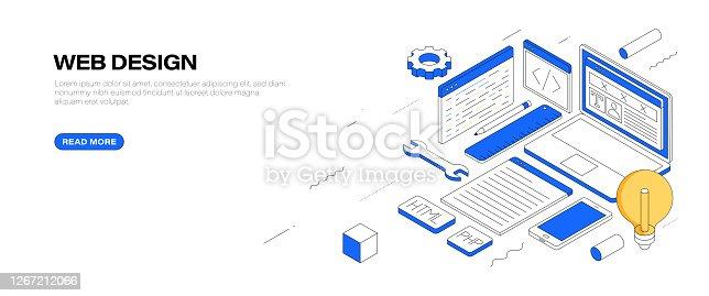 istock Web Design Isometric Banner Design 1267212066