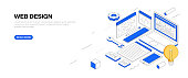 Web Design Isometric Banner Design