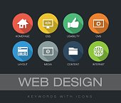 Web Design chart with keywords and icons. Flat design with long shadows