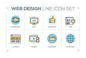 Web Design chart with keywords and line icons