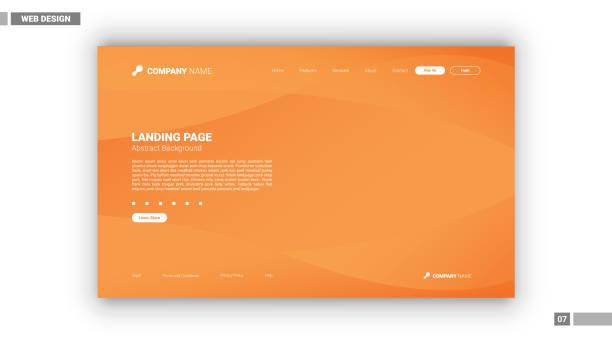 bildbanksillustrationer, clip art samt tecknat material och ikoner med web design mockup - orange bakgrund