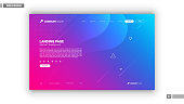 Web design mockup with blue and pink abstract background