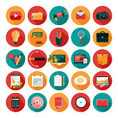 Web design objects, business, office and marketing items icons.