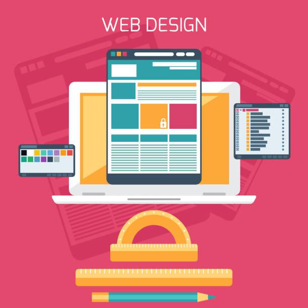 web design. programm für design und architektur. - tablet mit displayinhalt stock-grafiken, -clipart, -cartoons und -symbole