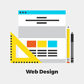 Web Design Flat Icon. Material Design Illustration Concept. Modern Colorful Web Design Graphics. Premium Quality. Pixel Perfect. Bold LineColor Art. Unusual Artwork Isolated on White.