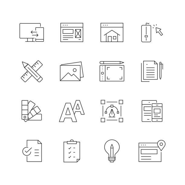 ウェブデザイン-細い線のベクトルアイコンのセット - webサイト点のイラスト素材/クリップアート素材/マンガ素材/アイコン素材