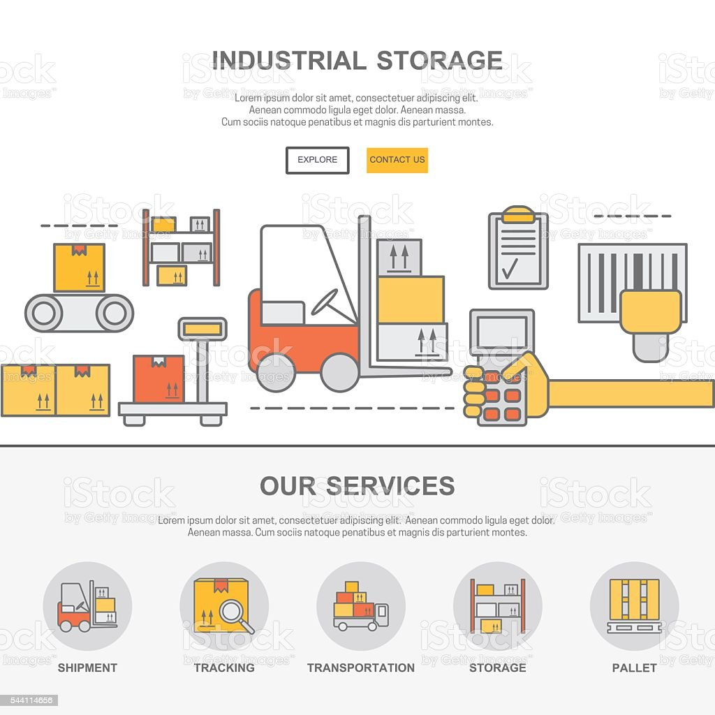 Web Design Template With Thin Line Icons Of Warehouse Stock Stock Illustration Download Image Now Istock