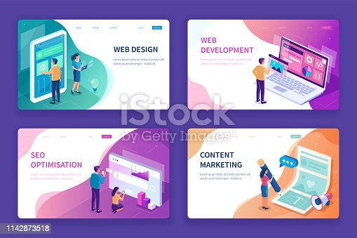 Web design, seo and development banners templates. Can use for backgrounds, infographics, hero images. Flat isometric modern vector illustration.