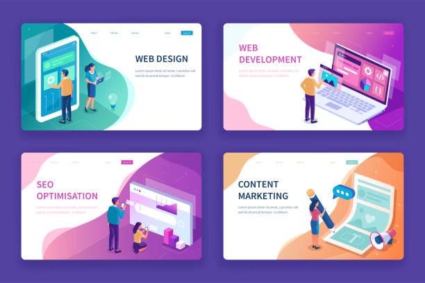 illustrations, cliparts, dessins animés et icônes de conception web - infographie site web