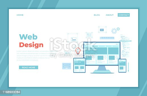 istock Web Design. Website template for monitor, laptop, tablet, phone. Elements for mobile and web applications. User Interface UI and User Experience UX content organization. landing page, banner. Vector 1168933284