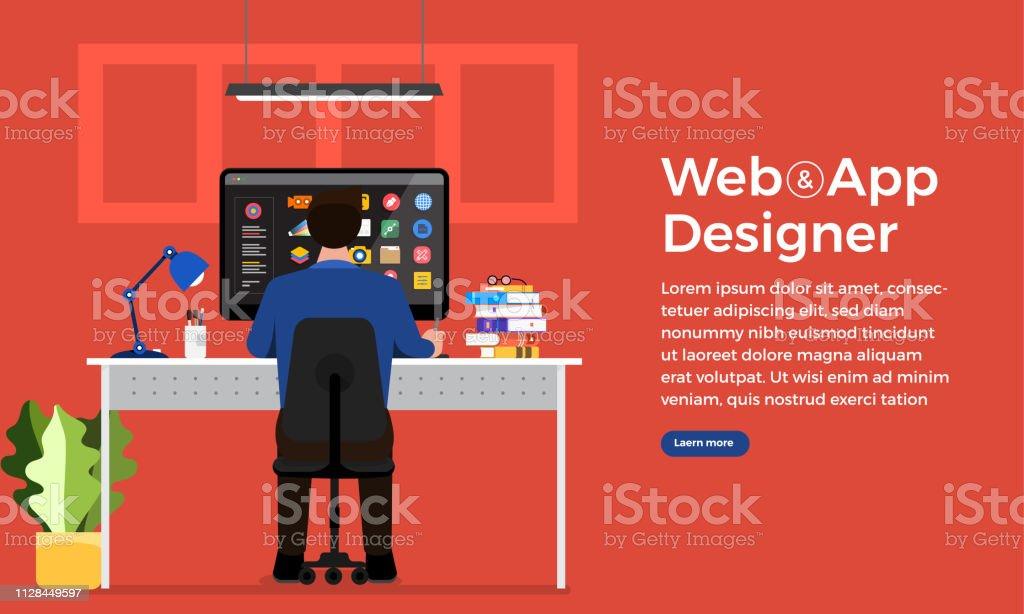 Illustration flat design concept web or application designer and...