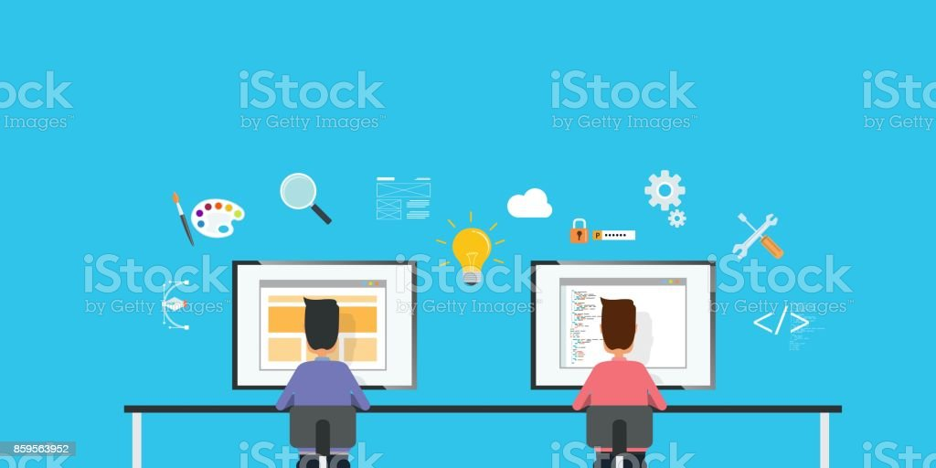 Web Designer And Web Developer Working Together On Workplace And Business Team Work Concept Stock Illustration Download Image Now Istock