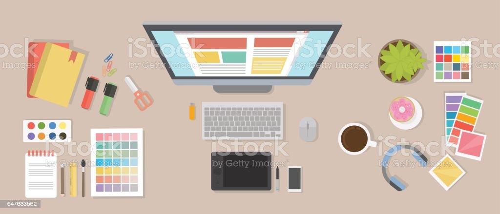Web designer desk mockup. vector art illustration