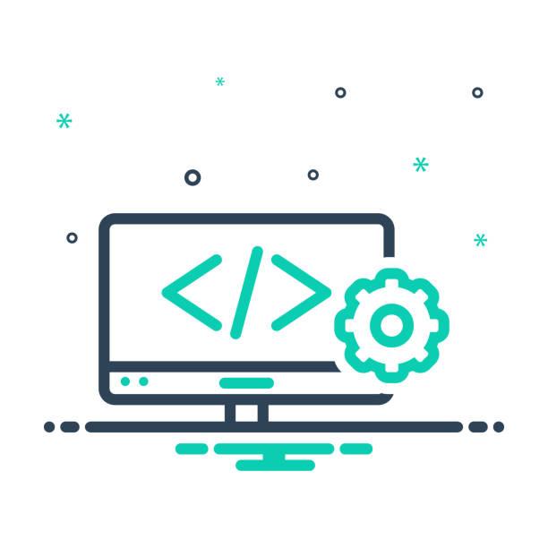 Web develop Icon for web develop, coding, programming, browser, page, software, website, webpage, development, web website design stock illustrations