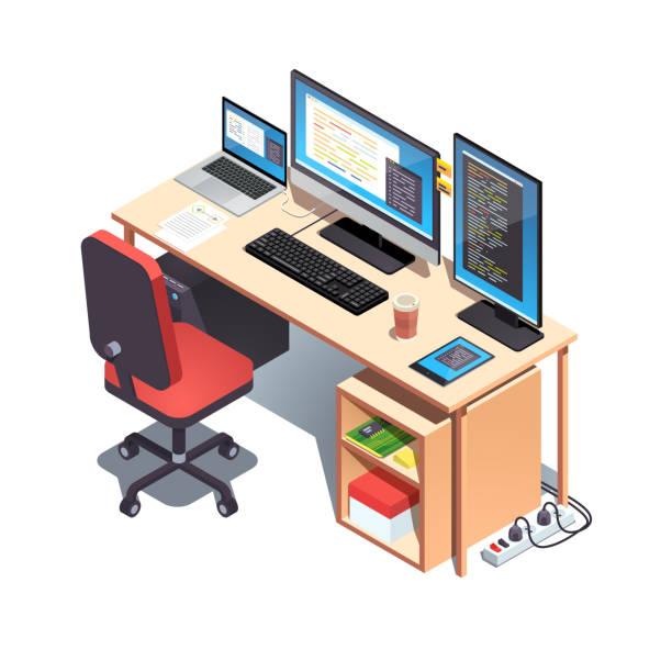 webentwickler-programmierer arbeitstisch mit geöffnetem projektcode auf monitoren. laptop-computer, desktop-pc-einrichtung-tisch mit rollen stuhl, mechanische tastatur. flache isometrische pseudo-3d-vektordarstellung - büro zukunft und niemand stock-grafiken, -clipart, -cartoons und -symbole