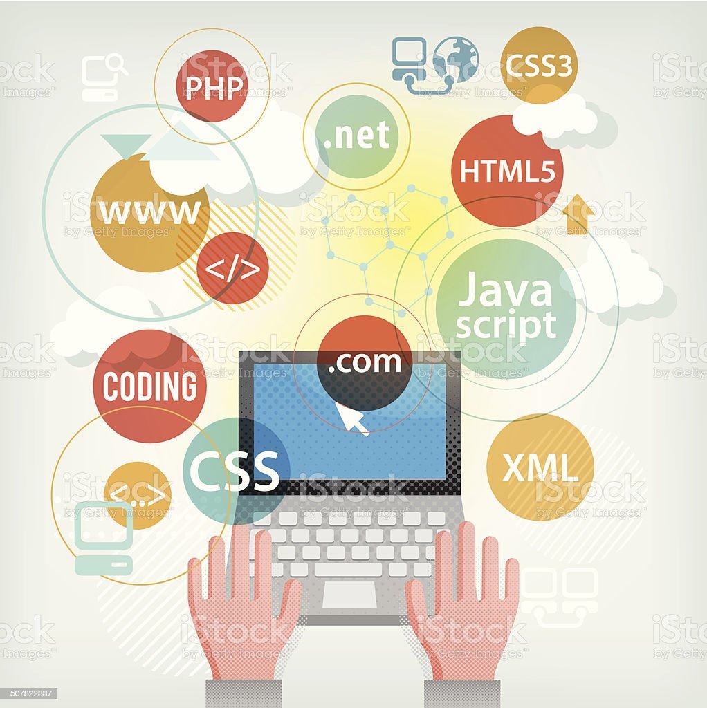 Web developer vector art illustration