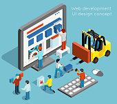 Web development and UI design vector concept in flat 3d