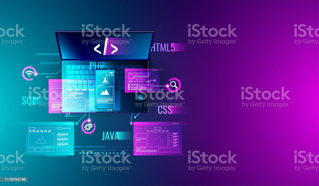 Web development, application design, coding and programming on laptop and smartphone concept with programming language and program code and layout on screen vector. Web development, application design, coding and programming on laptop and smartphone concept with programming language and program code and layout on screen vector. Applying stock vector