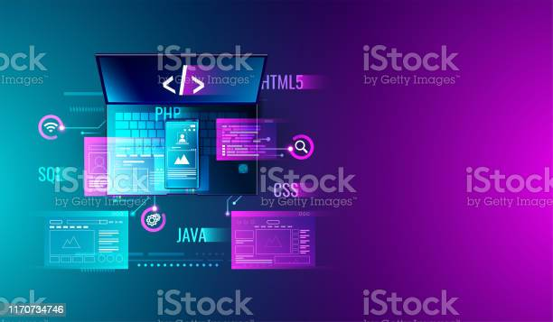 Web Development Application Design Coding And Programming On Laptop And Smartphone Concept With Programming Language And Program Code And Layout On Screen Vector Stock Illustration - Download Image Now