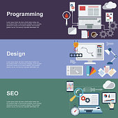 Flat Concept Icons. Web development horizontal banner set with coding seo and design elements.