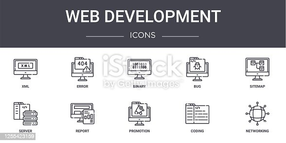 web development concept line icons set. contains icons usable for web, logo, ui/ux such as error, bug, server, promotion, coding, networking, sitemap, binary