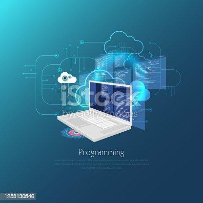 istock Web Development concept, programming and coding banner. stock illustration 1258130546