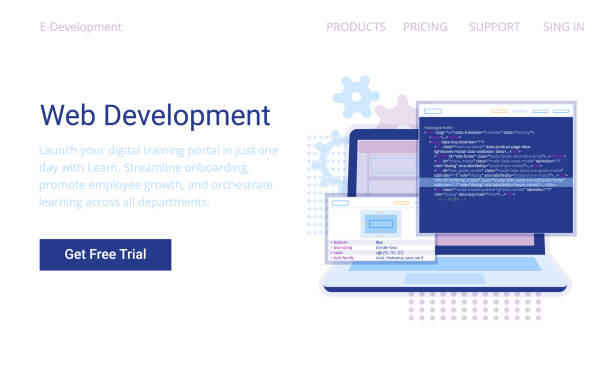 Web Development concept, programming and coding banner. Web Development concept, programming and coding banner. Laptop with virtual screens on white background. php programming language stock illustrations