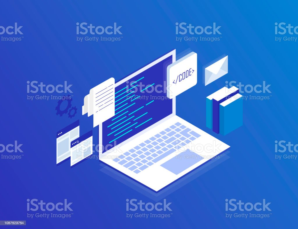 Web Development concept, programming and coding. Laptop with virtual screens on blue background. Modern isometric vector illustration royalty-free web development concept programming and coding laptop with virtual screens on blue background modern isometric vector illustration stock illustration - download image now