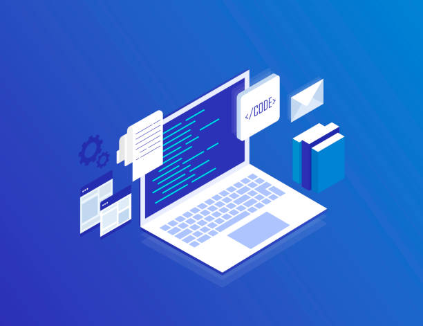 web development concept, programming and coding. laptop with virtual screens on blue background. modern isometric vector illustration - algorithm stock illustrations
