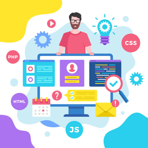 Web development concept. Vector illustration. Programming, coding. Modern flat design graphic elements for websites, web pages, templates, infographics, web banners, etc. vector art illustration