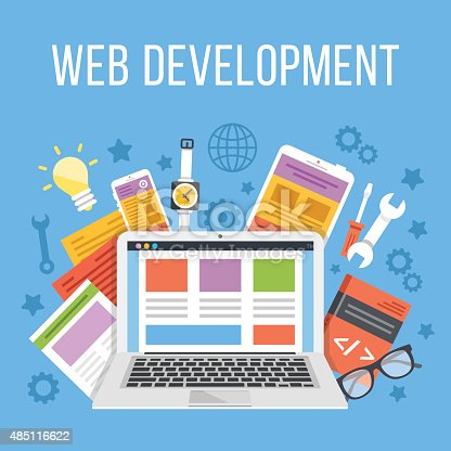Web development flat illustration concept. Modern flat design concepts for web banners, web sites, printed materials, infographics. Creative vector illustration