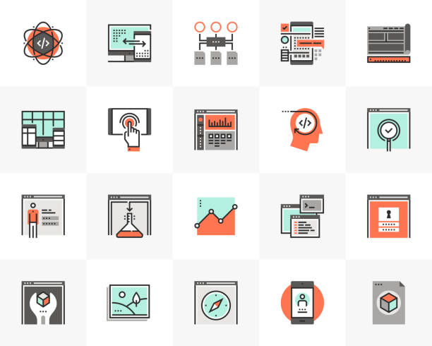 Web Development Futuro Next Icons Pack vector art illustration