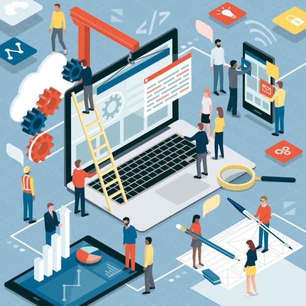 web-entwicklung, grafik-design und marketing - webdesigner grafiken stock-grafiken, -clipart, -cartoons und -symbole