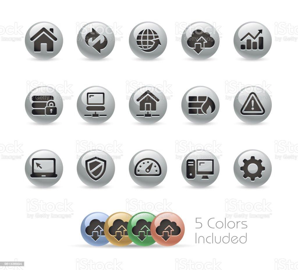 ウェブ開発のアイコン セット//シリーズ ラウンド メタル ベクターアートイラスト