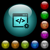 Web development icons in color illuminated glass buttons