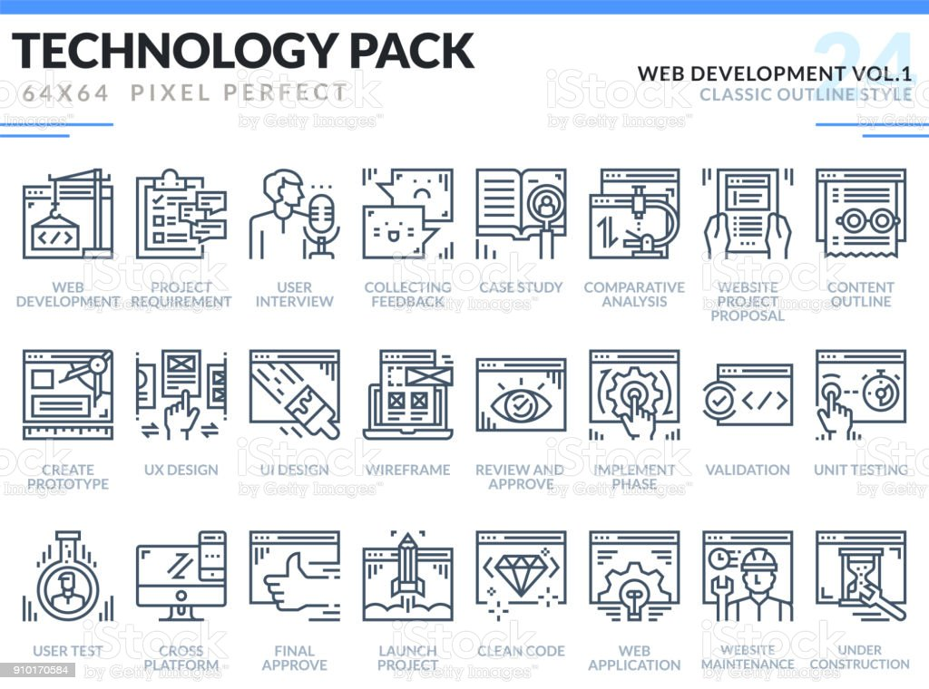 Web Development Icons Set Technology Outline Icons Pack