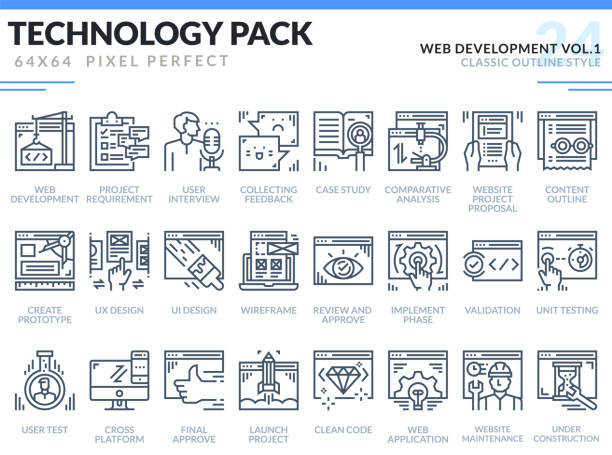 Web Development Icons Set. Technology outline icons pack. Pixel perfect thin line vector icons for web design and website application. vector art illustration