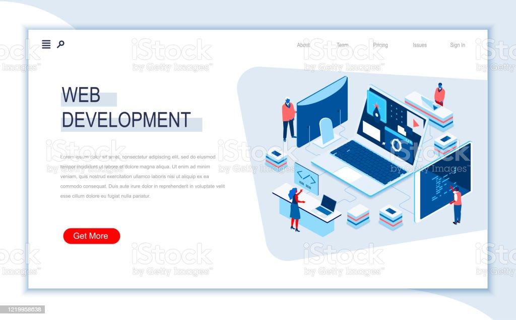 Web Development Isometric Landing Page Responsive Web Design Internet Application Development Site Programming Stock Illustration Download Image Now Istock
