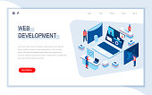 Web development isometric landing page. Responsive web design, internet application development, site programming. Digital technology and devices. Busy people in work situation 3d vector isometry.