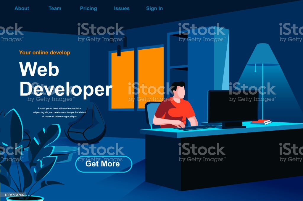 Web Development Isometric Landing Page Web Designer Working With Computer In Office Situation Stock Illustration Download Image Now Istock
