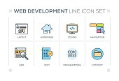 Web Development chart with keywords and line icons