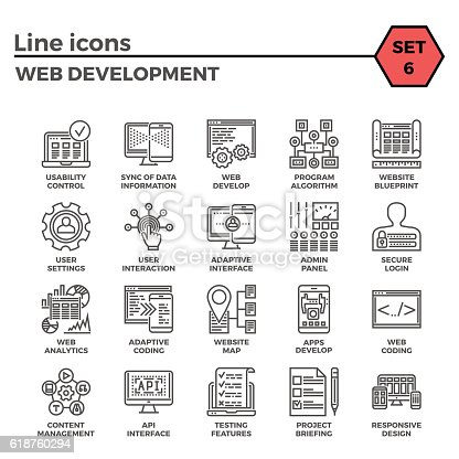 Web Development Thin Line Related Icons Set of Web Design and Website Customization on White Background. Simple Mono Linear Pictogram Pack Stroke Vector Logo Concept for Web Graphics.